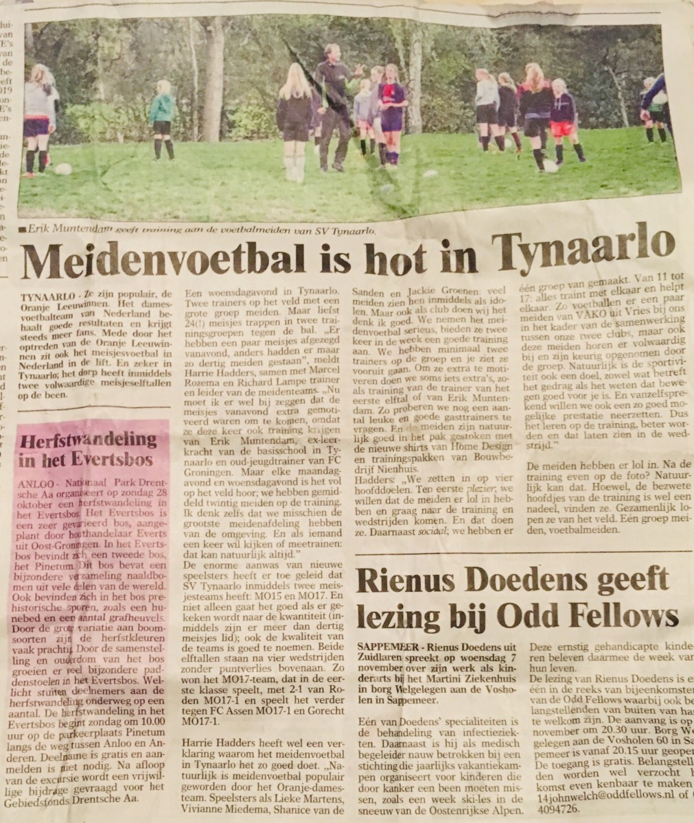 Meidenvoetbal hot in Tynaarlo