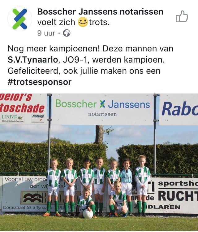 Sponsor Bosscher Janssens notarissen trots!