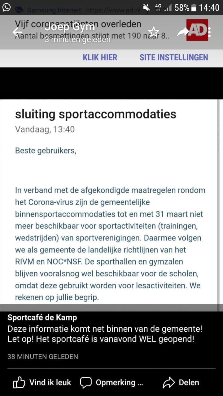 Gymzaal dicht: geen gym/turnen/volleybal